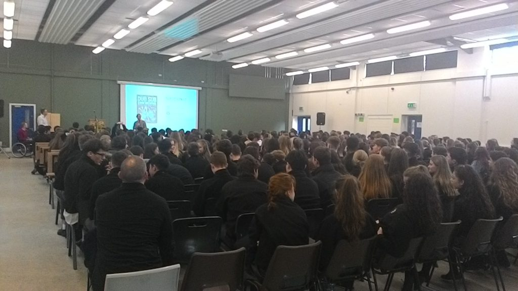 Speaking to a group of students in Patrician College, Newbridge